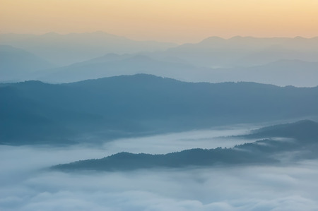 generic location: Beautiful morning with fog between hills at Doi Samer Dao in Si Nan National Park , High mountain in Nan province, Thailand