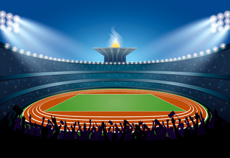 Excited Crowd of People at Athletics Stadium. Athletics Arena. Ceremony Event Athletes on Torch Background. Vector Illustration