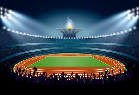 Foule Excited des gens au stade d'athlétisme. Athlétisme Arena. Les athlètes de l'événement Cérémonie sur fond de la flamme. Vector Illustration