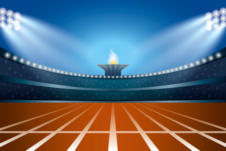 Athletics stadium with track at general front night view. Ceremony Event Athletes on Torch Background. Vector Illustration