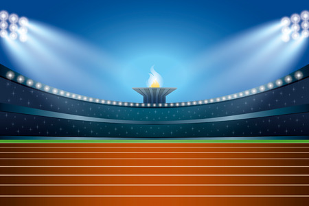 athletics track: Athletics stadium with track at general front night view. Ceremony Event Athletes on Torch Background. Vector Illustration