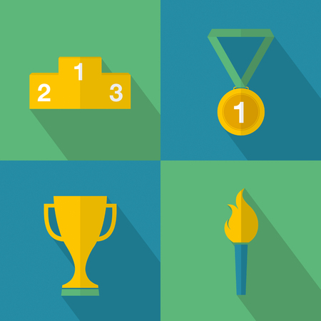 competitions: Set of sport game icons for winners in competitions. Vector illustration.