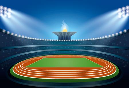 overture: Athletics Stadium. Athletics Arena. Ceremony Event Athletes on Torch Background. Vector Illustration