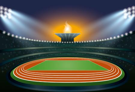 Athletics Stadium. Athletics Arena. Ceremony Event Athletes on Torch Background. Vector Illustration