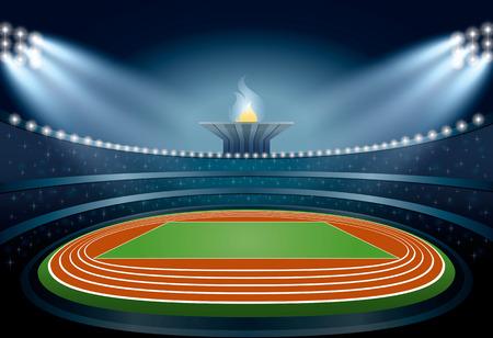 Stade d'athlétisme. Athlétisme Arena. Les athlètes de l'événement Cérémonie sur fond de la flamme. Vector Illustration Vecteurs