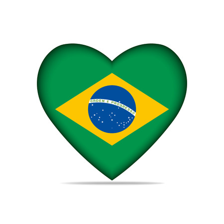illustrated globes: Heart with Brazil flag . Vector illustration.