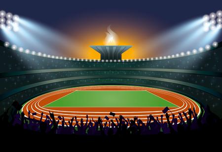 Foule Excited des gens au stade d'athlétisme. Athlétisme Arena. Les athlètes de l'événement Cérémonie sur fond de la flamme. Vector Illustration Vecteurs