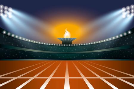 estadio de atletismo con la pista en la opinión general de la noche frente. Los atletas de Eventos en el fondo de la antorcha. Ilustración del vector