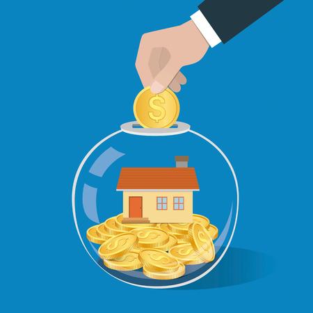 Geld besparen concept. Hand zetten een munt in glazen fles. Opslaan op een huis of een huis te kopen. Vector illustratie.