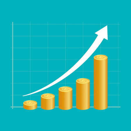 gold bar earn: Financial success concept. Stacks of golden coins with graph. vector illustration.