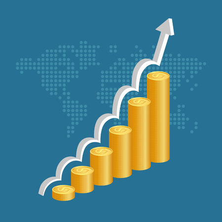 gold bar earn: Financial success concept. Stacks of golden coins with graph and world map background. vector illustration.