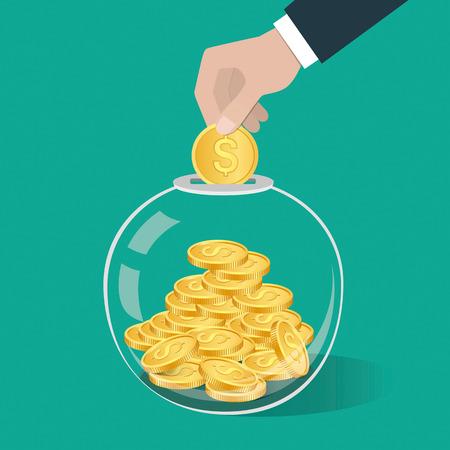 Concept d'économie d'argent. Main mettant une pièce de monnaie dans une bouteille en verre. Illustration vectorielle Vecteurs