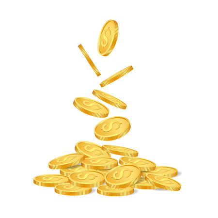 golden coins: Falling golden coins isolated on white background. vector illustration.