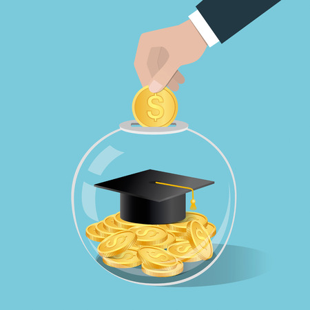 Money saving concept. Hand putting a coin into glass bottle. Saving for education. Vector illustration. Illustration