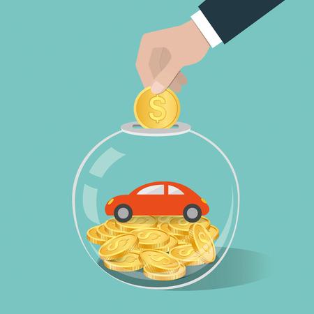Concept d'économie d'argent. Main mettant une pièce de monnaie dans une bouteille en verre. Sauver pour acheter une voiture. Illustration vectorielle