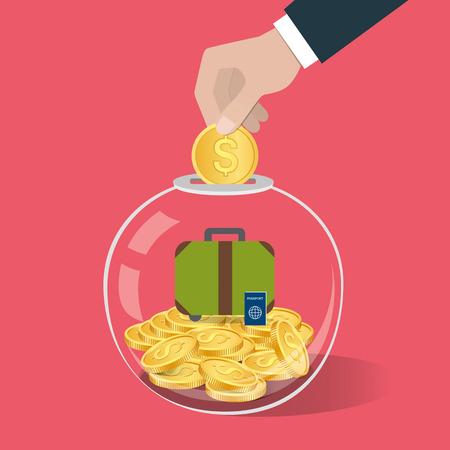 Geld sparen Konzept. Hand, die eine Münze in Glasflasche. Travel-Spar-Konzept. Vektor-Illustration