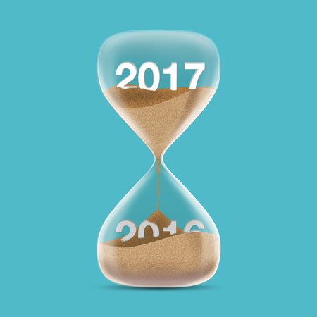 turns of the year: New Year 2017 concept with hourglass. Sands fall covered 2016. 3d illustration. Stock Photo