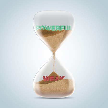 weak: Opposite wording concept in hourglass, powerful revealed after sands fall and covered weak text. 3d illustration. Stock Photo