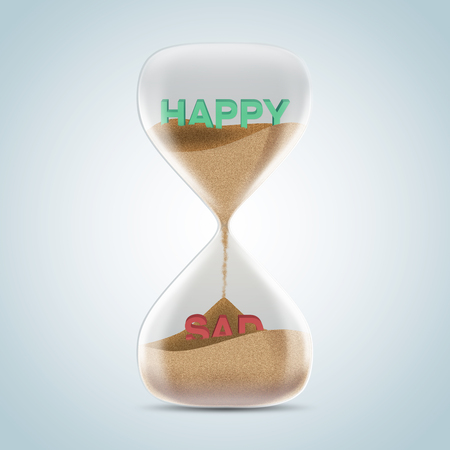 trickle: Opposite wording concept in hourglass, happy revealed after sands fall and covered sad text. 3d illustration.
