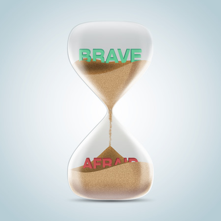 revealed: Opposite wording concept in hourglass, brave revealed after sands fall and covered afraid text. 3d illustration. Stock Photo