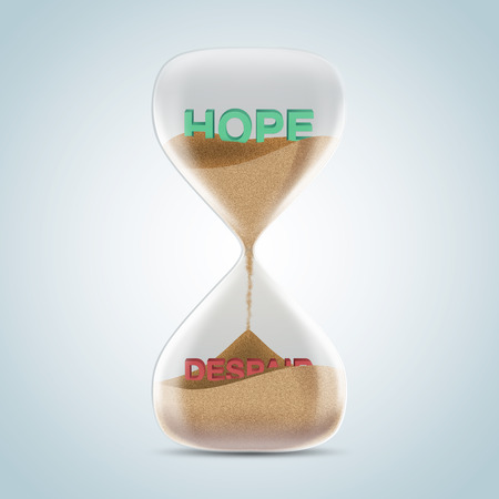 despair: Opposite wording concept in hourglass, hope revealed after sands fall and covered despair text. 3d illustration.