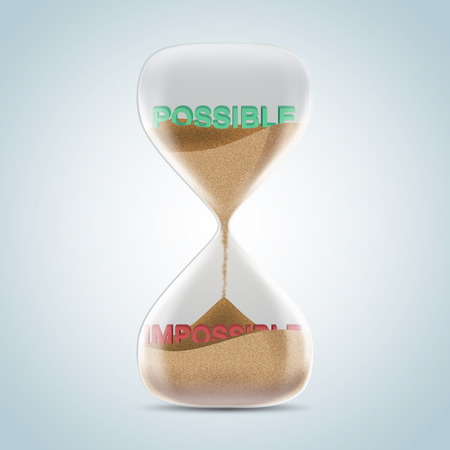 possible: Opposite wording concept in hourglass, possible revealed after sands fall and covered impossible text. 3d illustration. Stock Photo