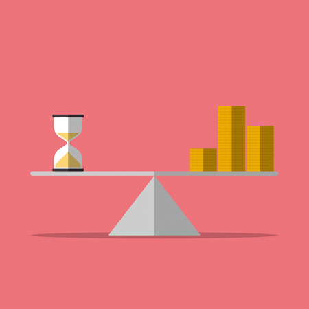 Time is money concept. balance between hourglass and coin stacks. Flat design. Vector illustration. Illustration