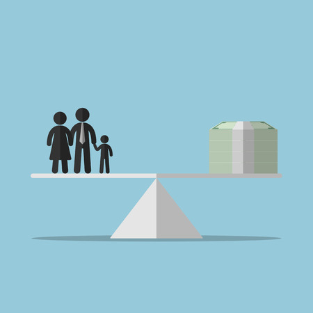 rate of return: Money concept, balance between Family and money. Flat design. Vector illustration.