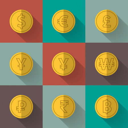 won: Set of gold coins. dollar, euro, pound sterling, yen, yuan, won, rubles, rupee, thai baht. Flat design. Vector illustration. Illustration