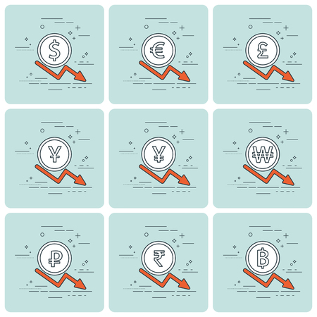 priceless: Set of coins and finance graph, currency collapse, dollar, euro, pound sterling, yen, yuan, won, rubles, rupee, thai baht. Thin line. Vector illustration. Illustration