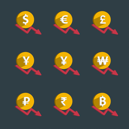 priceless: Set of coins and finance graph, currency collapse, dollar, euro, pound sterling, yen, yuan, won, rubles, rupee, thai baht. Vector illustration.
