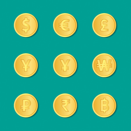 us coin: Set of gold coins. dollar, euro, pound sterling, yen, yuan, won, rubles, rupee, thai baht. Vector illustration.