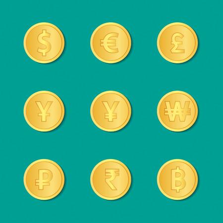 Set of gold coins. dollar, euro, pound sterling, yen, yuan, won, rubles, rupee, thai baht. Vector illustration.