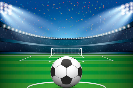 Soccer ball with soccer stadium and confetti background. Vector illustration.