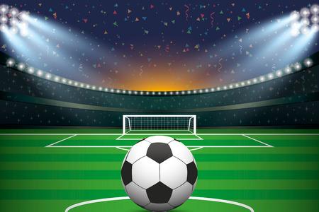 pallone da calcio con stadio di calcio e lo sfondo confetti. Illustrazione vettoriale.