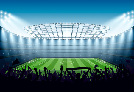 grandstand: Excited crowd of people at a soccer stadium. Vector illustration.