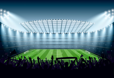 Excited crowd of people at a soccer stadium. Vector illustration. Imagens - 62955071