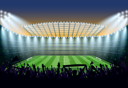 soccer stadium: Excited crowd of people at a soccer stadium. Vector illustration.