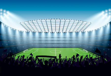 Excited crowd of people at a soccer stadium. Vector illustration.