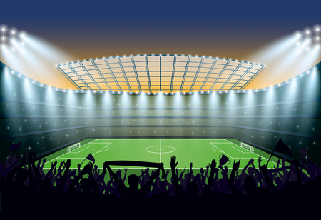 footy: Excited crowd of people at a soccer stadium. Vector illustration.