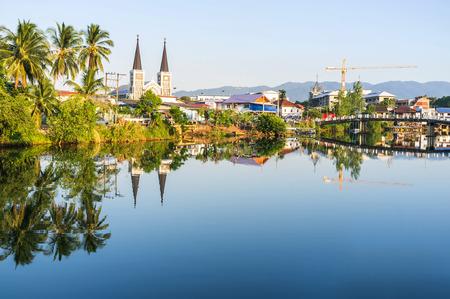 immaculate conception: Chanthaburi River waterfront and Cathedrad of the immaculate conception, Catholic church in Chanthaburi,Thailand.