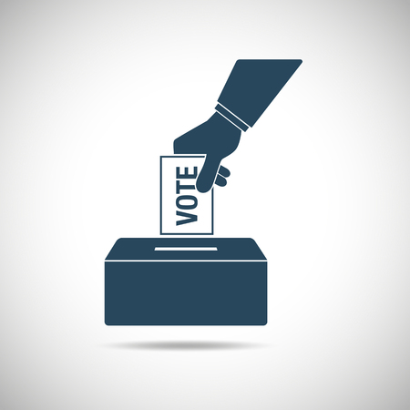 voting: Election day concept icon. Hand putting voting paper in the ballot box. Vector illustration. Illustration