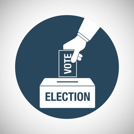 elect: Election day concept icon. Hand putting voting paper in the ballot box. Vector illustration. Illustration