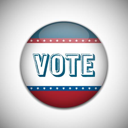 lapel: Vote election campaign badge button. Retro or Vintage Style. Vector illustration.