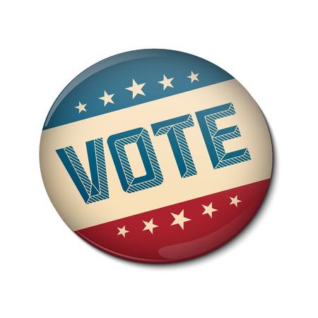 partisan: Vote election campaign badge button. Retro or Vintage Style. Vector illustration.