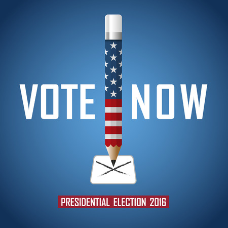 presidential: Vote now. 2016 USA presidential election campaign. Vector illustration.