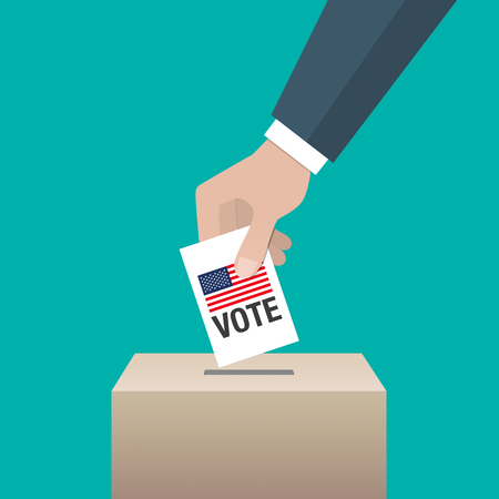 delegate: USA presidential election day concept. Hand putting voting paper in the ballot box. Vector illustration.
