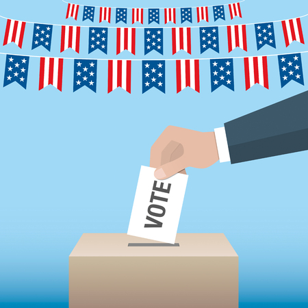 USA presidential election day concept. Hand putting voting paper in the ballot box. Vector illustration.