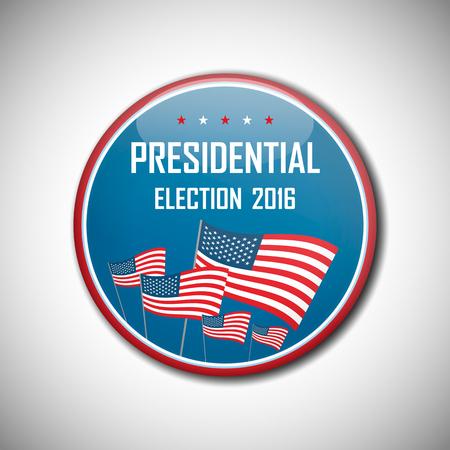 presidential: USA presidential election campaign badge button. Vector illustration.