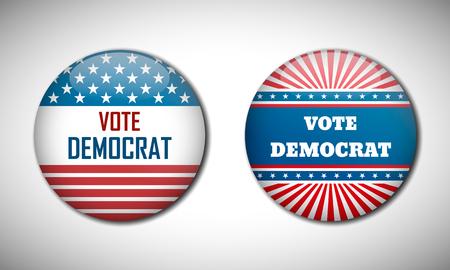 democrat: Badge election campaign 2016. Vote Democrat. Vector illustration.